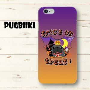 【全面印刷iphone】ハロウィン パグ1(黒パグ)ハードiphoneケース|pugbiiki