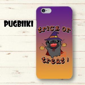【全面印刷iphone】ハロウィン パグ2(黒パグ)ハードiphoneケース pugbiiki