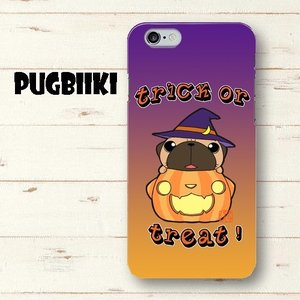 【全面印刷iphone】ハロウィン パグ3(黒パグ)ハードスマホケース pugbiiki