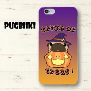 【全面印刷iphone】ハロウィン パグ3(フォーン)ハードスマホケース pugbiiki