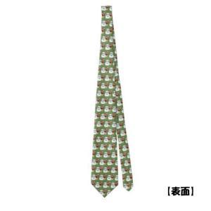 【両面印刷】雪だるまパグだるま(フォーン)海外製クリスマス仕様ネクタイ|pugbiiki