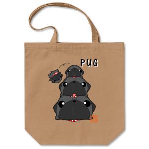 カラー他選べる パグピラミッド(黒パグ)コットントートバッグ(ぱぐ グッズ)|pugbiiki