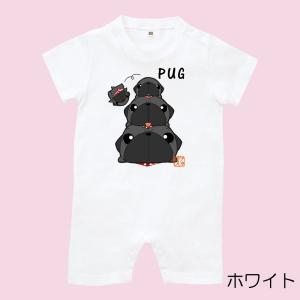 色・サイズ選べるロンパース パグピラミッド(黒パグ)|pugbiiki
