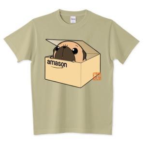 色・サイズ豊富  箱入りパグ(フォーン)  5.6オンスTシャツ(ぱぐ グッズ) pugbiiki