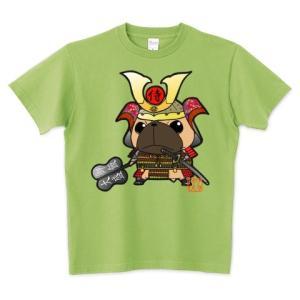 色・サイズ豊富 武将パグ(フォーン) 5.6オンスTシャツ(ぱぐ グッズ) pugbiiki