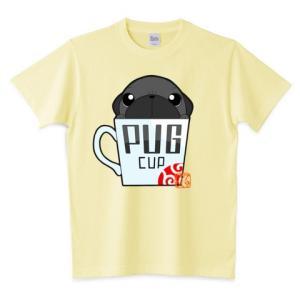 色・サイズ豊富 パグカップ(黒パグ)5.6オンスTシャツ(ぱぐ グッズ) pugbiiki