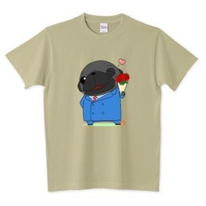 色・サイズ豊富 ダンディ黒パグ  5.6オンスTシャツ(ぱぐ グッズ) pugbiiki