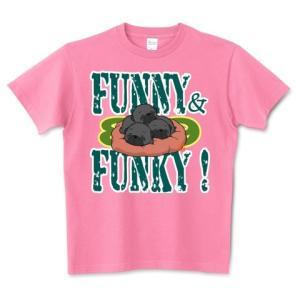 色・サイズ豊富  FUNNY&FUNKY すやすや子パグ3兄妹(黒パグ)5.6オンスTシャツ(ぱぐ グッズ) pugbiiki