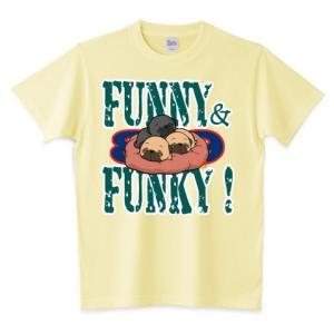色・サイズ豊富 FUNNY&FUNKY すやすや子パグ3兄妹(黒・フォーン)5.6オンスTシャツ(ぱぐ グッズ) pugbiiki