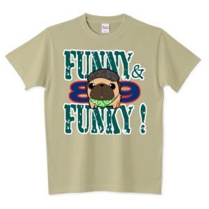 色・サイズ豊富 FUNNY&FUNKY ハンチング帽のパグ(フォーン) 5.6オンスTシャツ(ぱぐ グッズ) pugbiiki