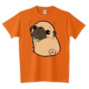 色・サイズ豊富 見返りパグ(フォーン) 5.6オンスTシャツ(ぱぐ グッズ) pugbiiki