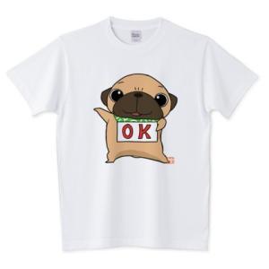 色・サイズ豊富  OKパグ 5.6オンスTシャツ(ぱぐ グッズ) pugbiiki