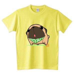 色・サイズ豊富  お散歩パグ(フォーン)  5.6オンスTシャツ(ぱぐ グッズ) pugbiiki