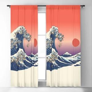 society6 遮光カーテン(213cm×127cm)浮世絵風波とパグ(フォーン)達(背景赤)|pugbiiki