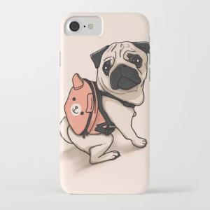 society6 iphone/Galaxyケース    バックパックを背負うパグ(ぱぐ グッズ)|pugbiiki