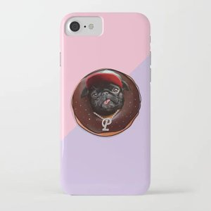 society6 iphone/Galaxyケース    黒パグinチョコドーナツ(ぱぐ グッズ)|pugbiiki