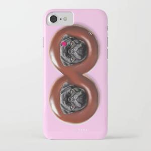society6 iphone/Galaxyケース    黒パグチョコドーナツ無限大(ぱぐ グッズ)|pugbiiki
