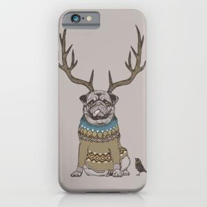 society6 iphone/Galaxyケース   可愛い?鹿コスプレのパグ(ぱぐ グッズ)|pugbiiki