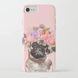 society6 iphone/Galaxyケース    花冠のパグ(ぱぐ グッズ)|pugbiiki