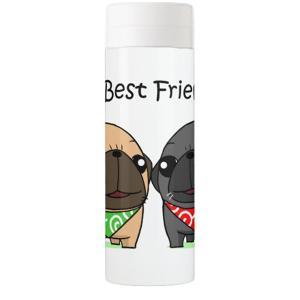 My Best Friends.(フォーン&黒パグ)サーモボトル500ml|pugbiiki