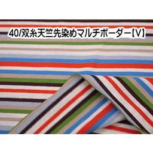 ニット生地 40/双糸天竺先染めマルチボーダー(V)|pugcabin