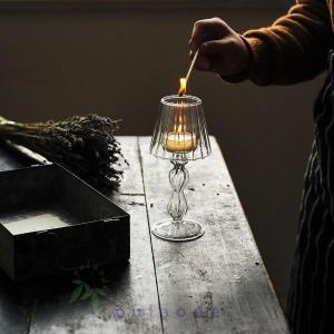 キャンドルホルダー ガラス キャンドルスタンド アンティーク風 インテリア ティーライト用 ローソク...