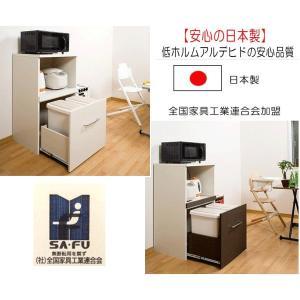 ゴミ箱付のレンジ台 ダストボックス付レンジ台Y  送料無料 日本製  完成品  |pulley