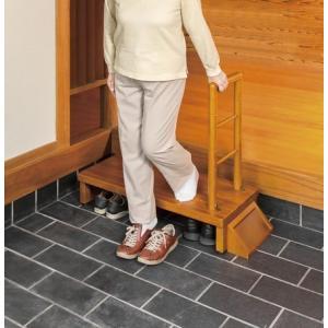 天然木手すり付き玄関踏み台 100cm幅 送料無料 pulley