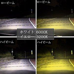 LEDヘッドライト HB4 9006 イエロー ホワイト 2色 車用ヘッドライト ハイビーム ロービーム Hi/Lo 車検対応 黄色 3200K 白|pumpkintetsuko83