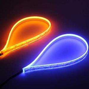 OPPLIGHT シーケンシャル 流れるLEDウインカーテープ アンバー ブルー 2色 切り替え LEDテープ ダブルカラー 60CM 超薄型 シリコ|pumpkintetsuko83