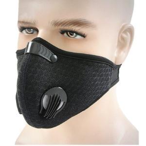 Ewolee スポーツマスク 防風 防寒 フェイスマスク 自転車 バイク用 スキー 登山 アウトドアマスク フィルター付き ブラック (耳にかけないタの画像