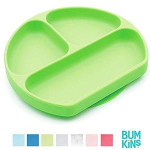 バンキンス シリコン グリップ プレート グリーン 6ヶ月から 出産祝い 食器 bumkins|punipunimall