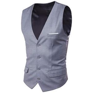 Blissmall ジレ ベスト メンズ フォーマル 結婚式 紳士 スリム スーツ仕立て スーツベスト 上質 尾錠付き BB20 (2XL, グレー) punipunimall