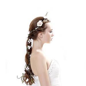 Ever Fairy 花冠ラプンツェル系髪飾り北欧 新婦人 花嫁 おもてなしブライダル 花冠 フラワー ウェディング ヘッドドレス 造花 花飾り 花輪|punipunimall