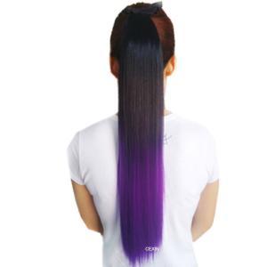 LESUN ポニーテールウィッグ つけ毛 ツートン ロング ストレート グラデーションカラーエクステ 取り付け簡単 つけ毛 エクステンションヘアカラー punipunimall