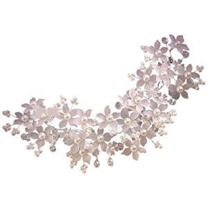 Vktech 豪華なウェディング花嫁 髪 飾り 花モチーフ ヘッド ドレス  披露宴 結婚式|punipunimall
