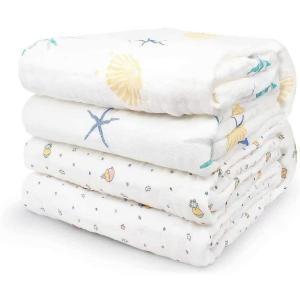 ベビー新生児 綿100% ベビーバスタオル 柔らかく 天然有機コットン 高密度6重ガーゼ 吸水性 瞬間乾き 敏感肌適合 静電気防止 ふわふわ 大判|punipunimall