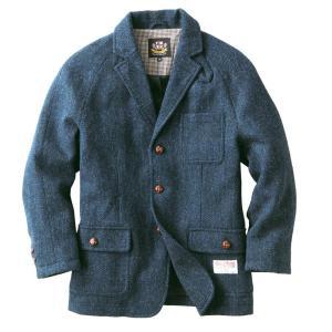 ヘリンボーンクラブ ハリスツイード 紳士のジャケット コート メンズ ウールコート 高級ジャケット 英国製法 (ネイビー, L) punipunimall