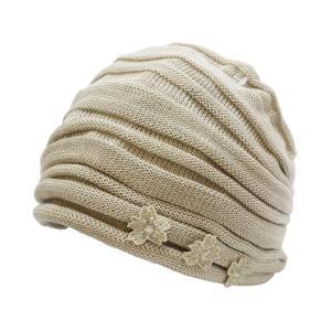 【宇野千代】おしゃれヘアーキャップ 室内帽子フード日本製 (ベージュ) punipunimall