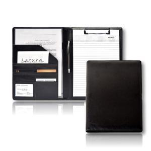 [Latuna] バインダー クリップボード A4 革 高級感 クリップ ファイル 二つ折り 多機能 ペンホルダー ポケット付き 名刺入れ ギフト 贈|punipunimall