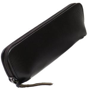 ルジート ペンケース 革 無地 大容量 ファスナー メンズ ブラック|punipunimall