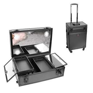 LUVODI メイクボックス 鏡付き ledライト プロ仕様 大型 持ち運び ドレッサー 鍵付き 大容量 ワゴン メイクキャリーケース メイクステーシ|punipunimall