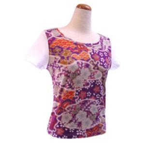 和柄半袖Tシャツ 辻が花調柄 紫|pura-pura