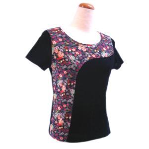和柄半袖Tシャツ 花尽くし鈴に雪輪(ゆきわ)|pura-pura