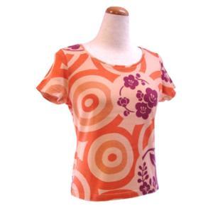 和柄半袖Tシャツ 水輪に花の丸 オレンジ|pura-pura
