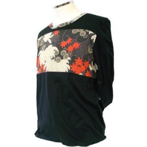 和柄ロングTシャツ 大乱菊 黒|pura-pura