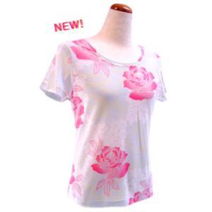 和柄半袖Tシャツ 織り調バラに市松紅葉(イチマツモミジ) ピンク|pura-pura