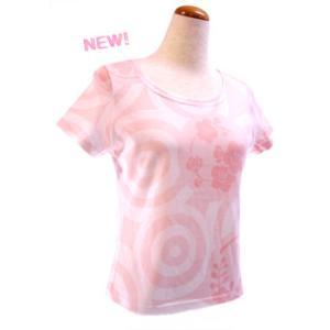 和柄半袖Tシャツ 水輪に花の丸(ミズワ二ハナノマル) ピンク|pura-pura