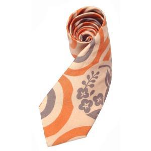 和柄ネクタイ 水輪に花の丸  ベイジュ|pura-pura