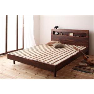 すのこベッド/ダブル/ベッドフレームのみ 棚・コンセント付きデザイン Haagen ハーゲン|purana25